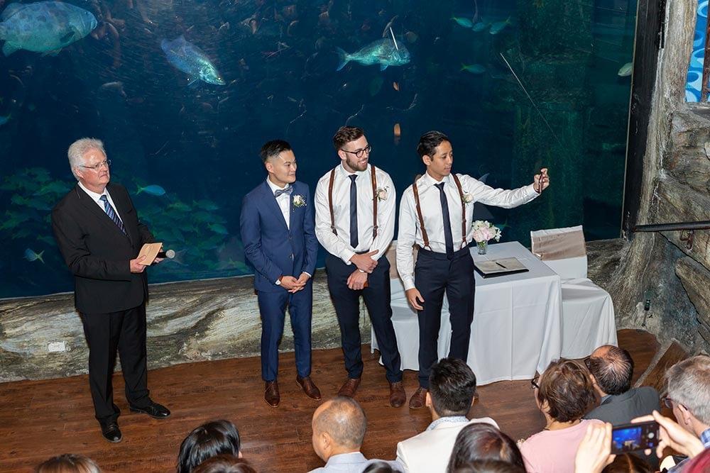 Wedding photograph Melbourne Tom Judy ceremony at aquarium 04