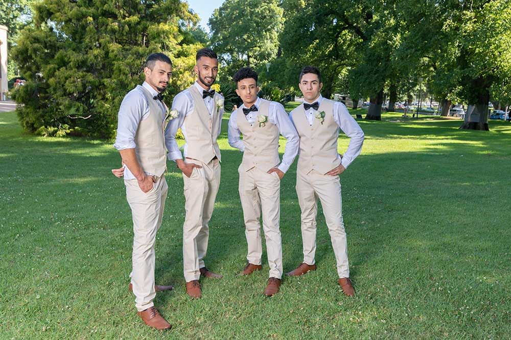 Groomsmen photo at Fitzroy Gardens