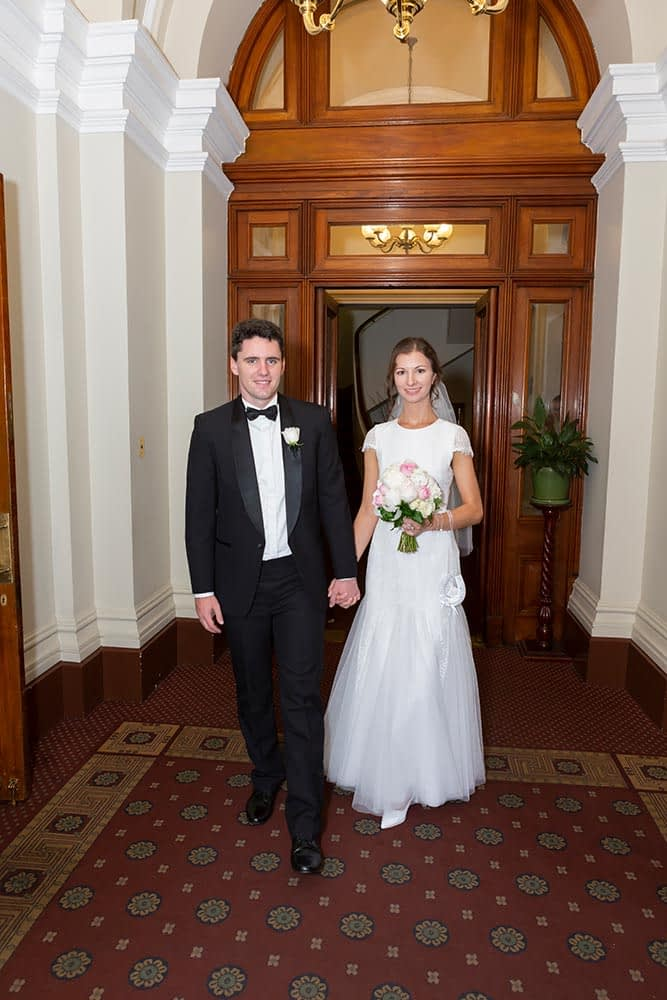 bride and groom photo inside the old treasury building