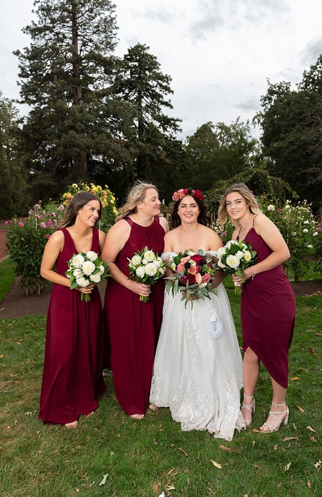 candid moment of bride and bridesmaids