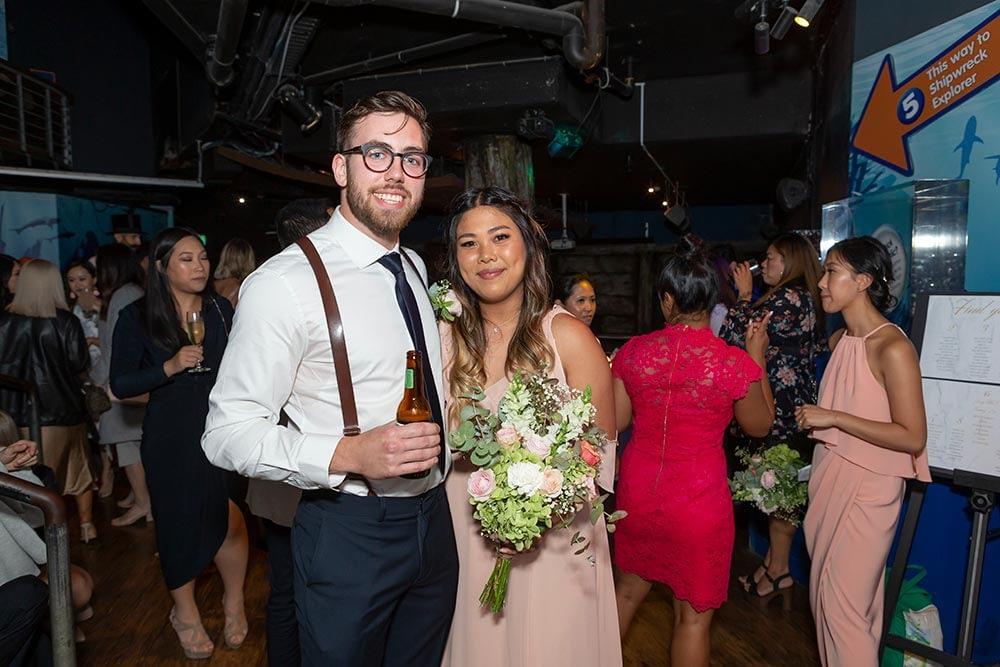 Wedding photograph Melbourne Tom Judy reception at aquarium 06