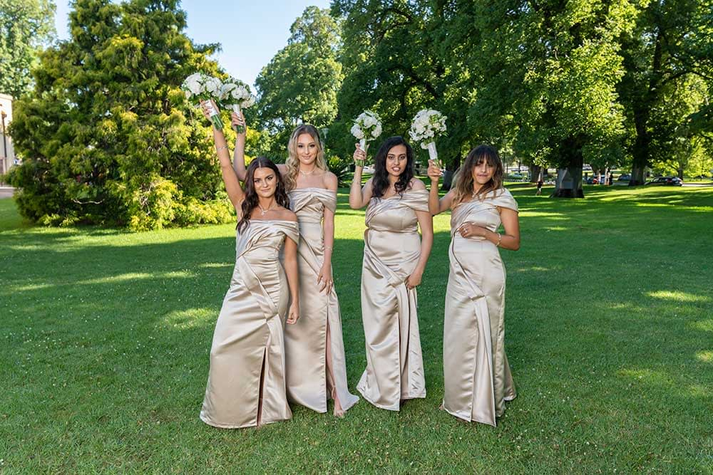 bridesmaids at Fitzroy Gardens