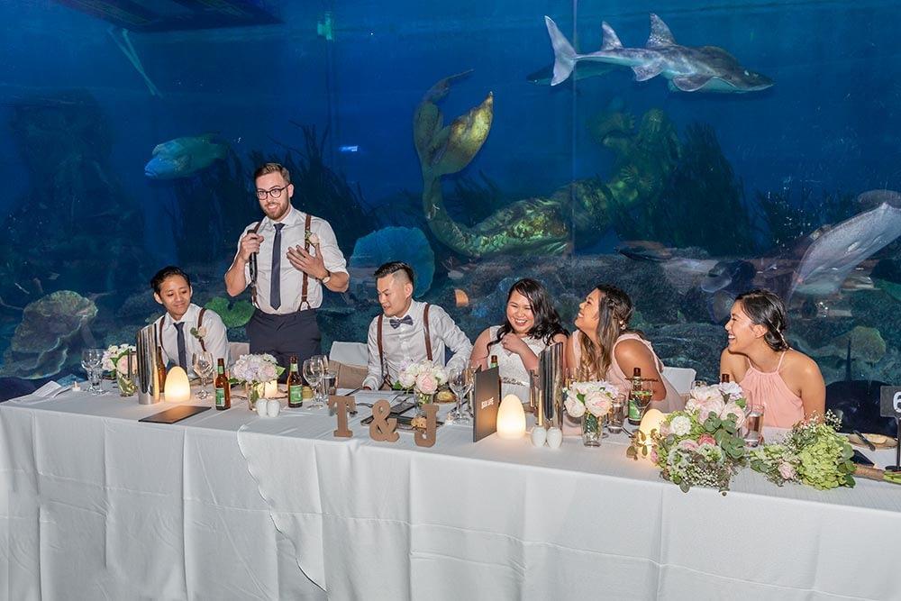 groomsmen gave a speech at wedding reception