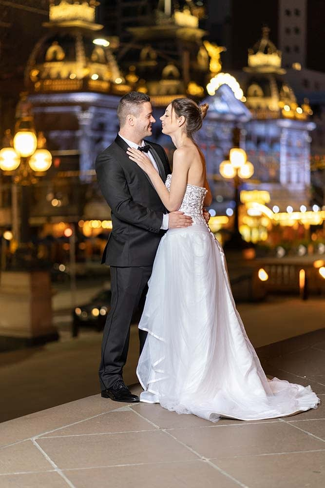 wedding photograph of bride and groom at night in Melbourne