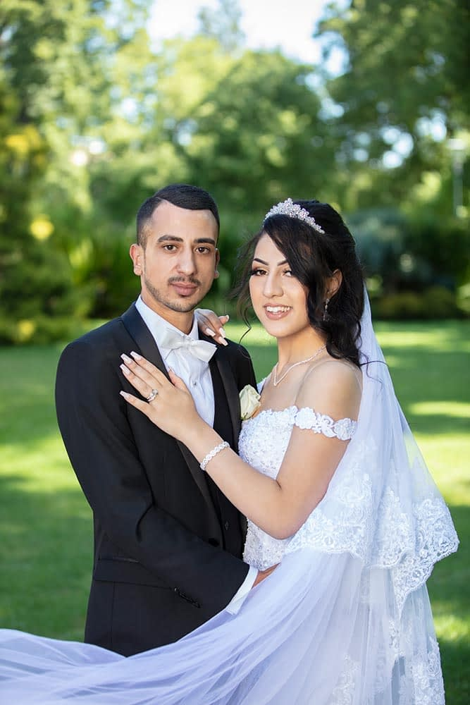 lovely portrait of bride and groom taken at Fitzroy Gardens
