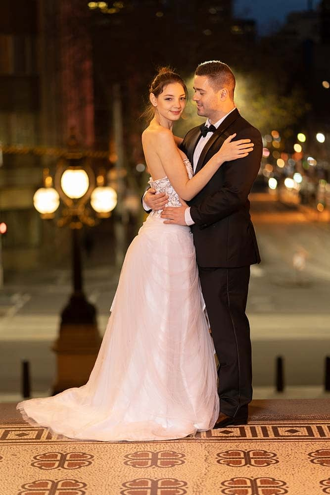 night portrait of bride and groom at Parliament house