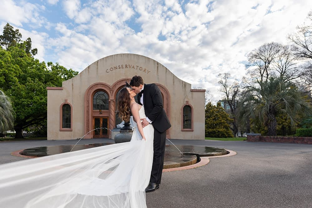 wedding photography Melbourne at Fitzroy Gardens bride and groom at Conservatory Stephanie