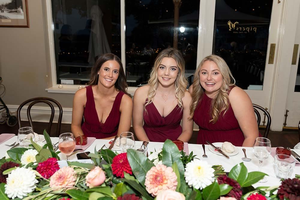 bridesmaids at wedding reception