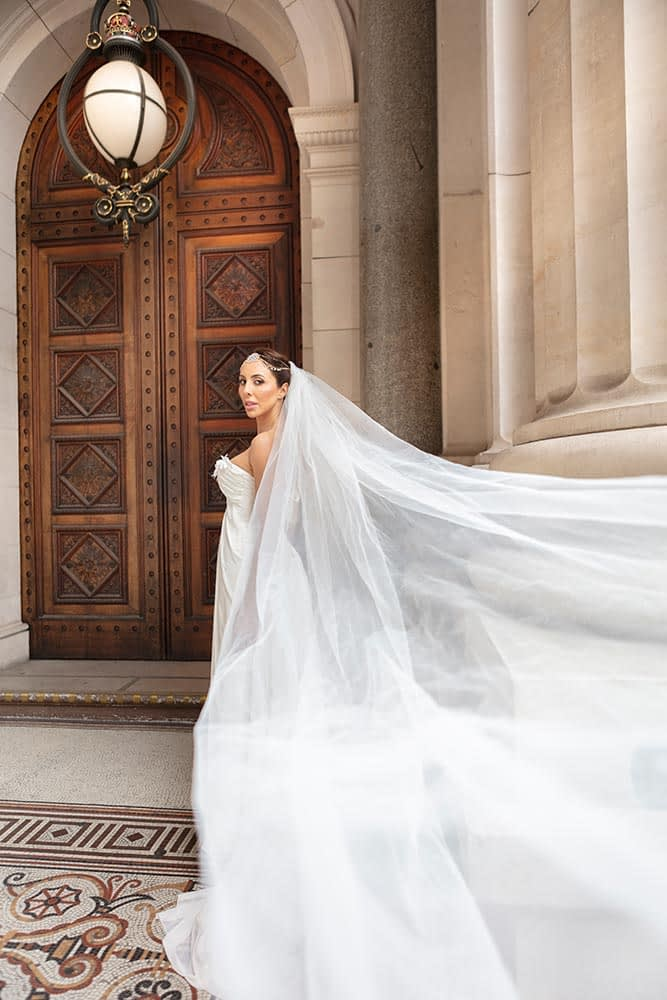 beautiful wedding photo of bride at parliament house
