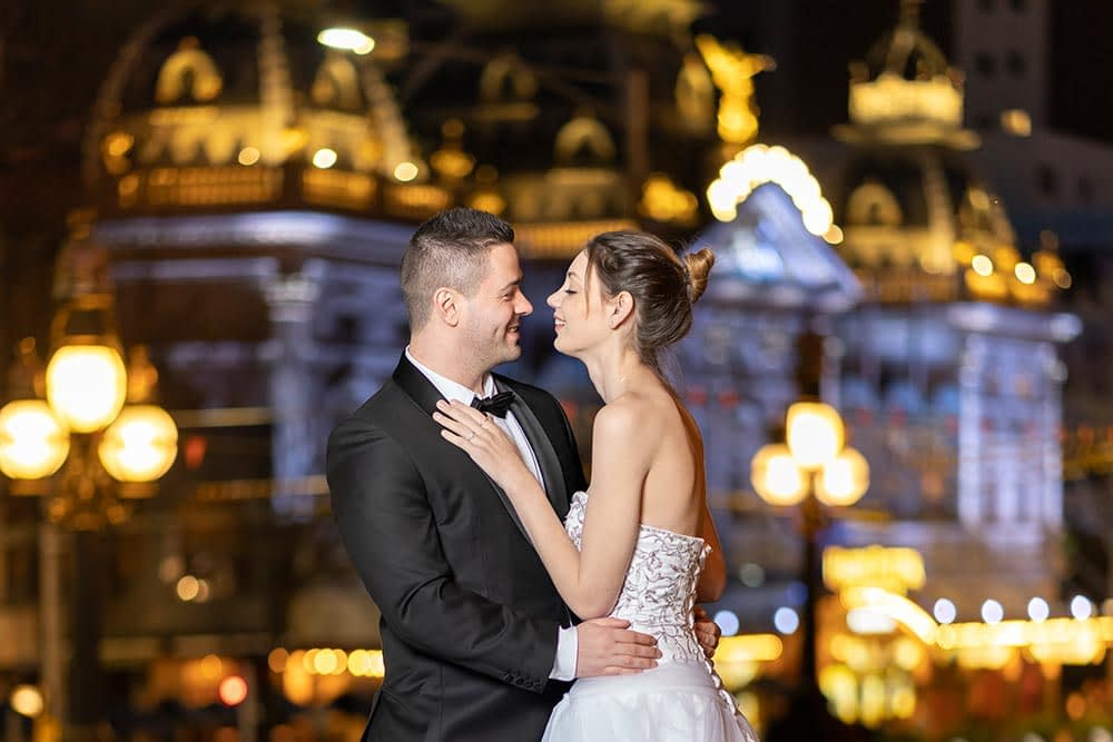 wedding photograph of bride and groom at night